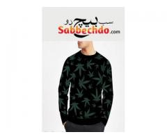 Leaf printed sweat shirt For Sale