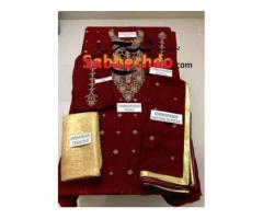 ALHAMDOLILLAH REPEAT NEW ARRIVAL. REDISH MAROON FABRIC FULL SUIT MA